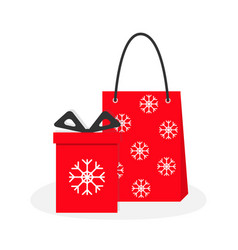Red gift box with ribbon bow paper shopping bag vector