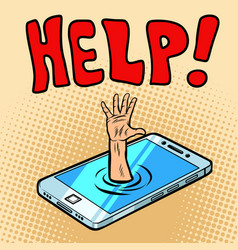 rescue by phone helping hand vector image