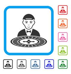 Roulette dealer framed gladness icon vector