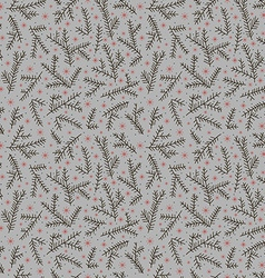 seamless pattern fir brunch winter snowflake gray vector image