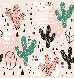 seamless pattern with cactusesgeometric shapes vector image