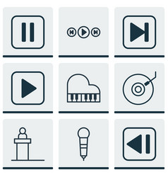 Set 9 music icons includes octave skip song vector