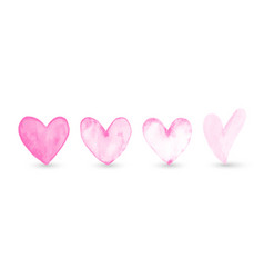 Set hand-painted watercolor pink heart vector