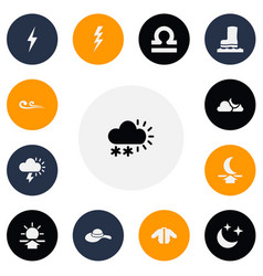 set of 13 editable climate icons includes symbols vector image