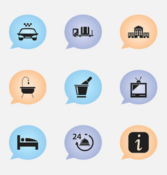 set of 9 editable plaza icons includes symbols vector image vector image