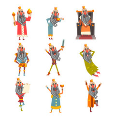 Set of funny king in various clothes cartoon vector