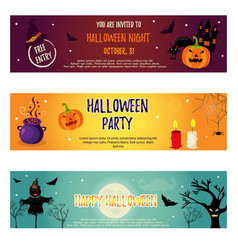 set of halloween banners with halloween characters vector image