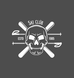 set of vintage skiing labels and design elements vector image