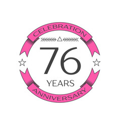 Seventy six years anniversary celebration logo vector