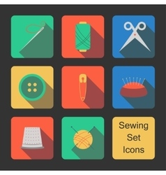 Sewing set icons vector image