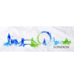 Silhouette watercolor London vector