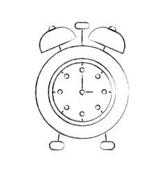 Sketch blurred silhouette image alarm clock vector