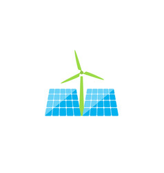 Solar panels and windmill of ecological energy on vector