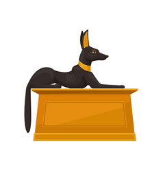 Statue of lying anubis on golden pedestal side vector