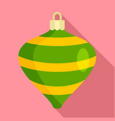 striped xmas toy icon flat style vector image