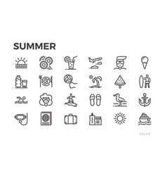 summer vacation icons sun sea tourism and vector image