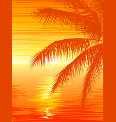 Sunset in ocean with palm tree vector