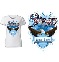 T-shirt design sturgis with bald eagle vector