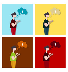 Thinking cloud with question in flat style man vector
