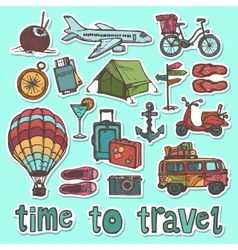 Travel sketch stickers set vector image