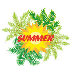 Tropical background with palm tree vector