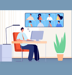 video conference internet business call online vector image