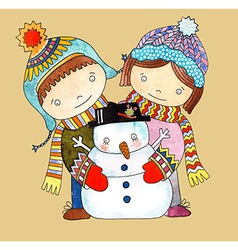 Watercolor snowman with boy and girl vector