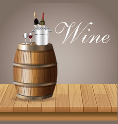 Wine ice bucket glass cup bottle barrel table vector