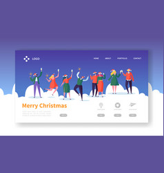 winter holidays landing page template christmas vector image