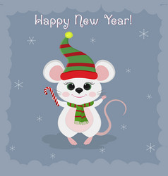 Year steel rat 2020 merry christmas and a vector