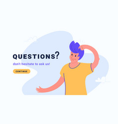 Young confused man has aguestion or some doubts vector