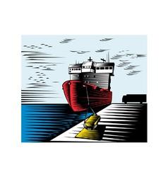 Passenger Ship Ferry Boat Anchor Retro vector image vector image