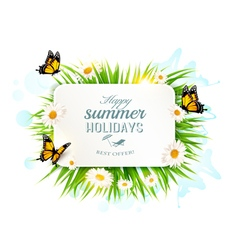 Square happy summer holidays banner with grass vector image vector image