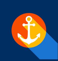 anchor icon white icon on tangelo circle vector image