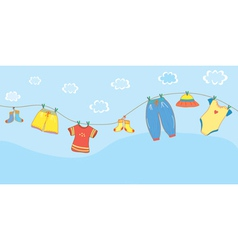 Baby clothes banner in the sky vector image