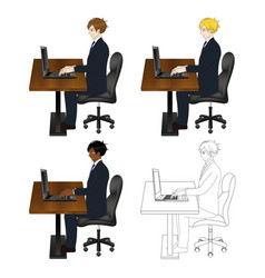 business man sitting with laptop vector image vector image