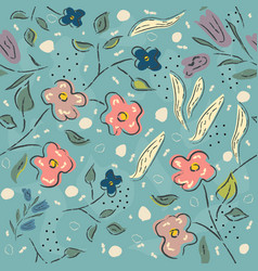 floral pattern hand drawn vector image