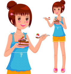 girl eating cake vector image vector image