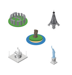 isometric architecture set of chile india mosque vector image vector image