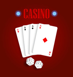 playing cards and dice on a red table vector image vector image