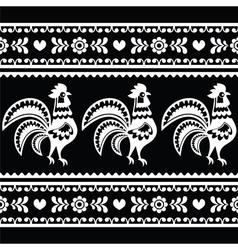 Seamless Polish monochrome folk art pattern with r vector image