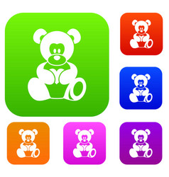 teddy bear holding a heart set color collection vector image vector image