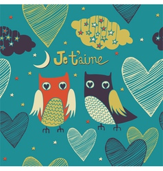 Valentines card Owls couple Seamless pattern vector image