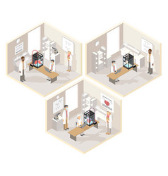 clinical laboratories set of isometric vector image vector image