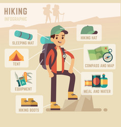 Camping equipment and hiking travel accessories vector