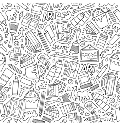 Cartoon cute hand drawn artist seamless pattern vector