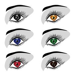 eye heart set vector image