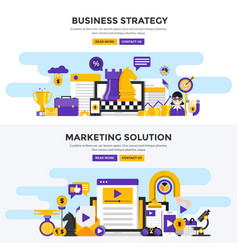 flat design concept banners - business strategy vector image vector image
