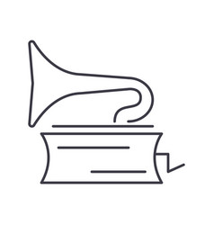 gramophone line icon sign on vector image vector image