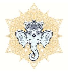 Hand drawn elephant head on ornament background vector